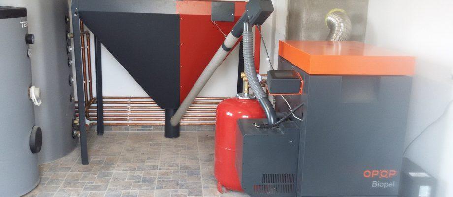 Punct termic, cu cazan pe peleti OPOP Biopel de 30kW + boiler extins + boiler tampon + boiler ACM